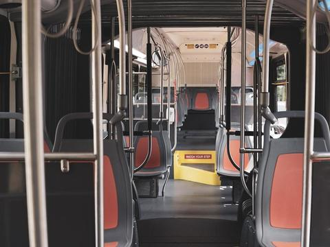 articulated bus inside